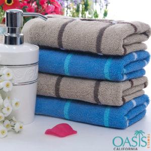 Bulk Set of Blue and Brown Stripe Bath Towels Manufacturer