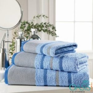Wholesale Blue and Grey Stripe Bath Towel Set