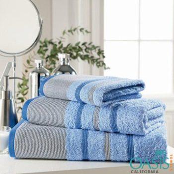 Wholesale Blue and Grey Stripe Bath Towel Set