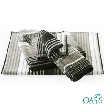 Bulk White, Mushroom, Black Stripe Designer Bath Towel Manufacturer