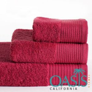 Manufacturer of Wholesale Towels With Wine Red Etched Sides
