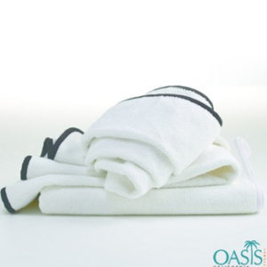 Wholesale Plush White towel with Black Piping Bath Towel
