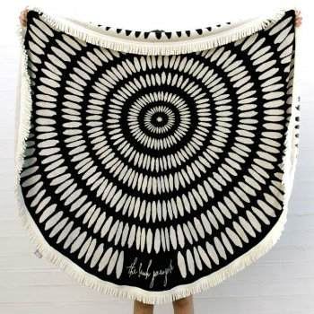 Wholesale Black and White Cabana Stripe Beach Towels Manufacturer