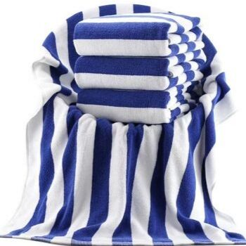 Wholesale Blue and White Plush Bath Towel