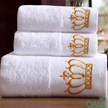 Wholesale Designer Golden Crown White Hotel Towels Manufacturer