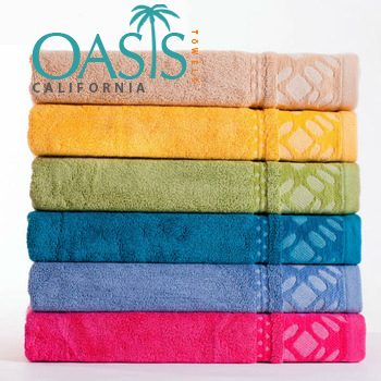 Wholesale Towels with Electric Hues Etched Borders
