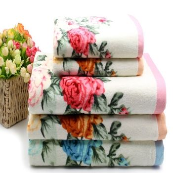 Wholesale Powder Hue Floral Bath Towel Set