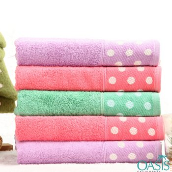 Wholesale Summer Inspired Hotel Towels with Polka Dot Border