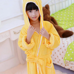 Kids Yellow Hooded Bathrobe Wholesale Manufacturer