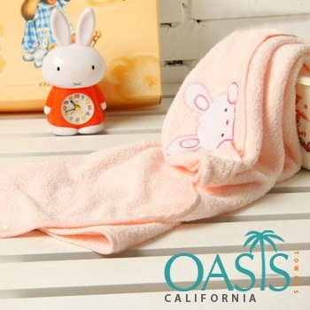 Towels with Peeping Bunny in Peach