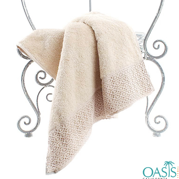 Wholesale Pearly Cream Lacy Custom Towel Manufacturer