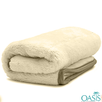 Wholesale Cream with Satin Border Custom Towel Manufacturer