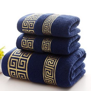 Wholesale Navy Blue Microfiber Towel Set