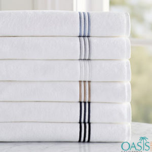 Wholesale White Etched Border Organic Towels Manufacturer