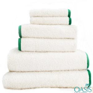 Wholesale Rich White Green Satin Border Organic Towels Manufacturer