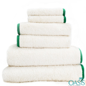 Wholesale Rich White Green Satin Border Organic Towels Manufacturer