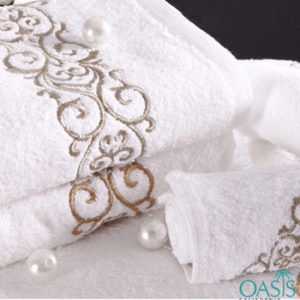 Wholesale Plush White Etched Border Wholesale Organic Towels Manufacturer