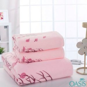 Wholesale Ensemble Pink Flora Inspired Hotel Towels Manufacturer