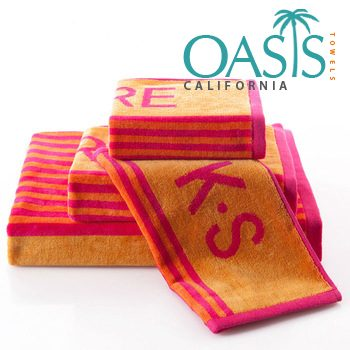 Wholesale Initials in Red and Yellow Striped Towels Manufacturer