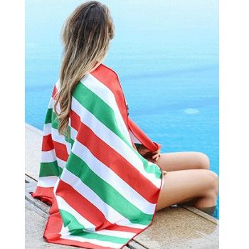 Wholesale White and Red Cabana Stripe Beach Towel Manufacturers