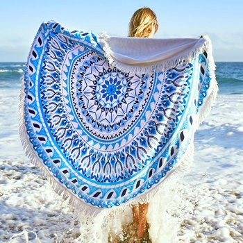 Wholesale Blue Aztec Cotton Round Beach Towels Manufacturer