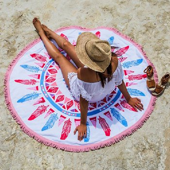 Wholesale Pink and White Printed Round Beach Towels Manufacturer