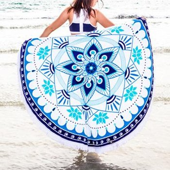 Wholesale Lotus Printed Cotton Round Beach Towels Manufacturer