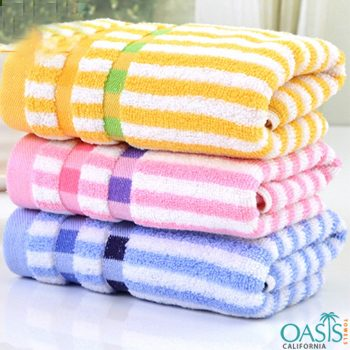 Wholesale Multi-Colored Striped Hand Towels Manufacturer