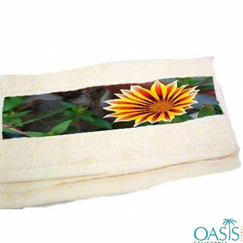 Wholesale Soft Cream Floral Border Sublimation Towels Manufacturer