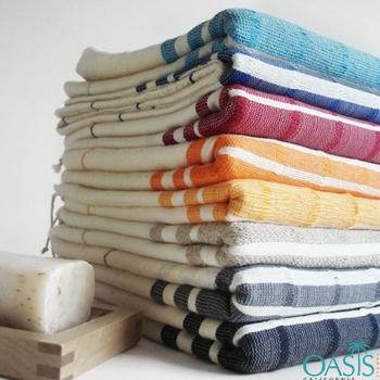 Wholesale White with Block Color Stripe Wholesale Turkish Towel Manufacturer