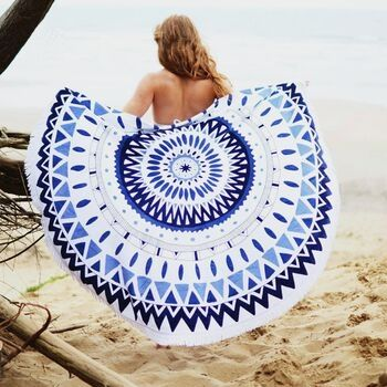 Wholesale White and Blue Decorative Cotton Round Beach Towels