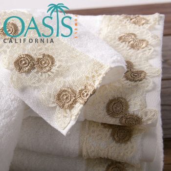 Wholesale Snow White Cream Lace Towels Manufacturer